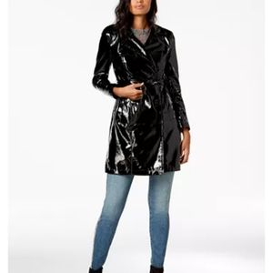 INC black trenchcoat shiny with belt faux leather